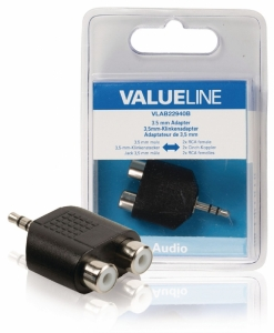 Adaptor audio 3.5 mm tata - 2x RCA mama, negru