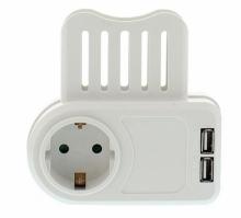 Fisa SCHUKO cu 2x 1.05A USB cu suport telefon, Wel...